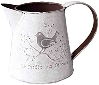Watering Honey French Style Rustic White Shabby Chic Mini Metal Pitcher Vase Primitive Jug Vase For Home Cafe Decor