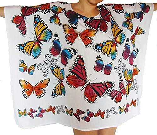 Kaftan Mariposas Blanco 100% Rayon Abierto Cover Bikini Ideal para Playa Muy Comodo Y PRACTICO NO Pesa Nada.