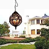 E27 IP55 Colgante lámpara Vintage Lámparas de Techo de Metal y Vidrio Araña al Aire Libre Impermeables Antiguo Exterior Iluminación Colgante para Jardín Gazebo pasillos Balcón Patio