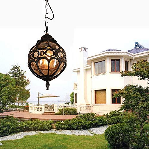 E27 Colgante lámpara Vintage Lámparas de Techo de Metal y Vidrio Araña Lámparas de Techo al Aire Libre Impermeables Antiguo Exterior Iluminación Colgante para Jardín Gazebo pasillos Balcón Patio