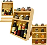 Sunny Gx 4 Tier Spice Rack Holder - Counter Top, Seasoning Jars, Sause Bottle Kitchen Storage Cabinet Pantry Organizer With Removable Shelf, Premium Bamboo (Brown, Large)