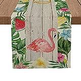 Artoid Mode Flamingos Leaves Flower Table Runner, Seasonal Summer Plants Kitchen Dining Table Runner for Home Party Decor 13 x 72 Inch