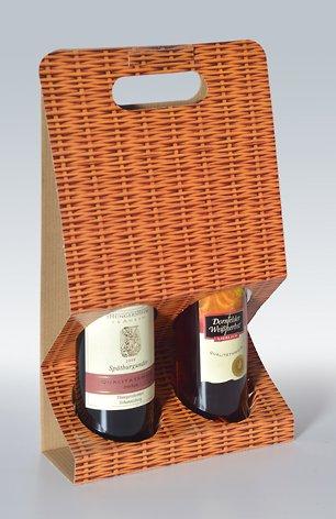 10 Stück 2er-X-Line Tragekarton Korbgeflecht, Tragetasche, Weinkarton, Flaschenkarton, Weinverpackung