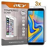 REY Pack 3X Panzerglas Schutzfolie für Samsung Galaxy J4 Plus 2018 - J6 Plus 2018 - J4 CORE, Bildschirmschutzfolie 9H+ Festigkeit, Anti-Kratzen, Anti-Öl, Anti-Bläschen