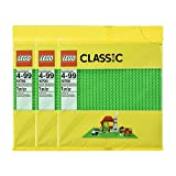 LEGO 32 x 32 Stud 10 x 10 Inch Stackable Building Baseplate, Green (3 Pack)