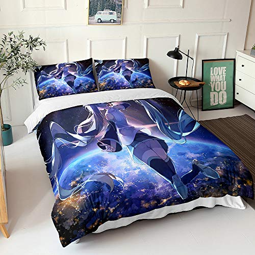 Meiju Duvet Cover Sets Single/Double/King/Super King Size, Bedding Set Soft Polyester 3 piece set Quilt Cover*1 with Pillow Case*2, Cartoon girl (200x200cm,Hatsune Miku B)