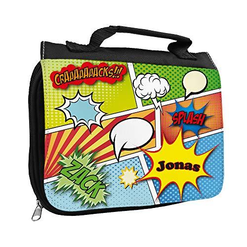 Kulturbeutel mit Namen Jonas und Comic-Motiv für Jungen | Kulturtasche mit Vornamen | Waschtasche für Kinder