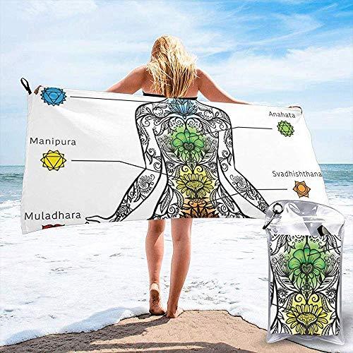 JHDF Sieben Chakren Symbole Anahata Sahasrara Manipura Körper Erwachen Lotus Ornamente Bad Schwimmbad Yoga Picknickdecke Strandtücher 80 * 130 cm