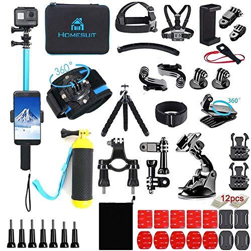 Homesuit Action Kamera Zubehör-Kit 60-In-1 für GoPro Hero 9 8 7 6 5 Session 4 3+ 3 2 1 Black Silver Insta360 GO 2 SJ4000/SJ5000/SJ6000 DJI OSMO Action DBPOWER AKASO Xiaomi Yi APEMAN-Blau