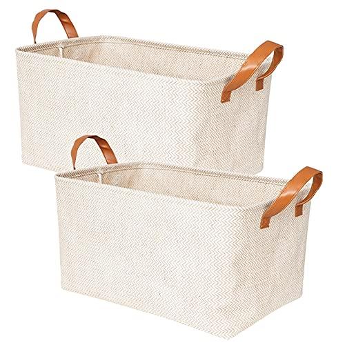 DFCVB Cesta de almacenamiento tejida ecológica para el hogar, caja organizadora plegable, asas de lavandería, juguetes de Sundries organizador L48 x 33 x 26 cm, 2 unidades de almacenamiento