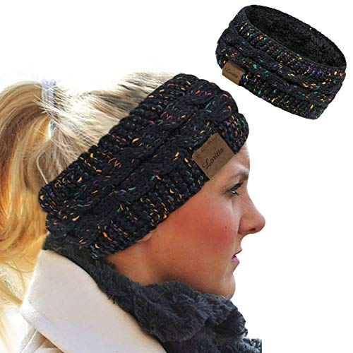 Loritta Womens Ear Warmers Headbands Winter Warm Fuzzy Cable Knit Head Wrap Fleece Lined Gifts,Black