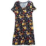 Damen Nachthemd Kurzarm Rundhals Pyjama Gedruckt Elegant Sommer Mode Loose Bequem Negligee Nachtwäsche (Color : Eule, Size : L)