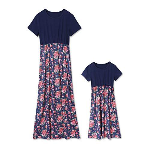 YUYOUG Mère et Fille Robe, Mère bébé Fille Dress Florale Print Vêtements de Famille Parent Enfant Robe à Fleurs (Mère, M)