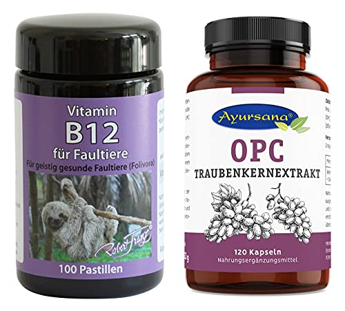 Robert Franz Vitamin B12 Pastillen (100 Stück) und Ayursana OPC Traubenkernextrakt (120 Kapseln)