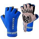 IUSTAOCN Fishing Fingerless Gloves,UV Protection Sun Gloves UPF50+,Shock Absorbing Breathable Anti Slip Outdoor Sports Gloves for Biking Hiking Kayaking Rowing Sailing Dumbbells Climbing (Small)