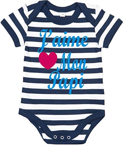 Edward Sinclair J'aime Mon Papi' 47-62 rayé Bleu Ciel bébé Bodysuit
