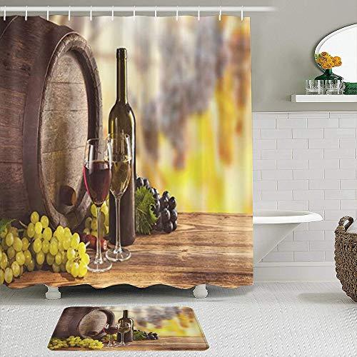 Juego de cortinas de ducha de 2 piezas con alfombra de baño antideslizante,Botella de vino blanco tinto y uvas de alcohol de vidrio en madera Bodegón,12 ganchos,Decoración de baño personalizada