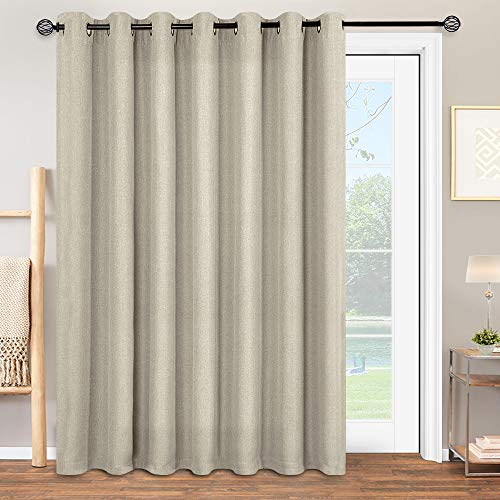 """jinchan Linen Textured Light Filtering Curtains for Bedroom Window Curtain Panels for Living Drapes Grommet Top 1 Panel 100"""" W 84"""" L Greyish Beige"""