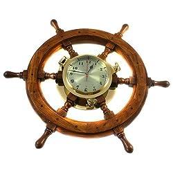Nagina International Nautical Captain's Ship 26 Wheel Porthole Wall Mounted Clock