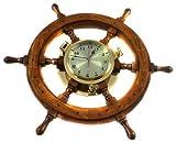 Nagina International Nautical Captain's Ship 26' Wheel Porthole Wall Mounted Clock