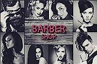 写真の壁紙壁壁画理髪店美容髪型黒と白の髪サロン背景壁現代の大きな壁のステッカーHDポスターヘアサロン装飾工具壁アート壁の装飾-500x300cm