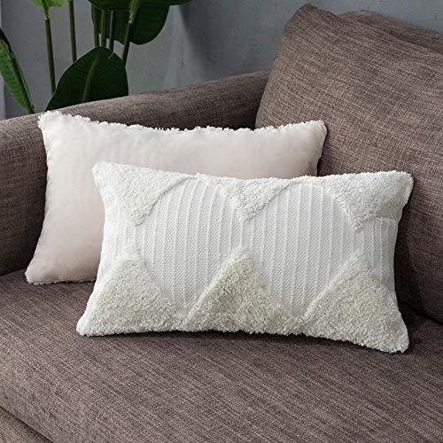 Tiffasea Lumbar Decorative Throw Pillow Cover Boho Neutral Farmhouse Decor Tufted Rumi Shag Pillows Case Accent Cushion Cover for Bed Sofa Living Room Bedroom (12 x 20 inch, Cream)