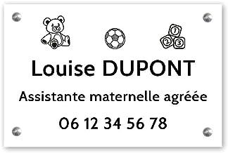 Personaliseerbaar bord voor kleuterschoolassistent, personaliseerbaar, 30 x 20 cm, witte zwarte letters, schroeven + plugg...