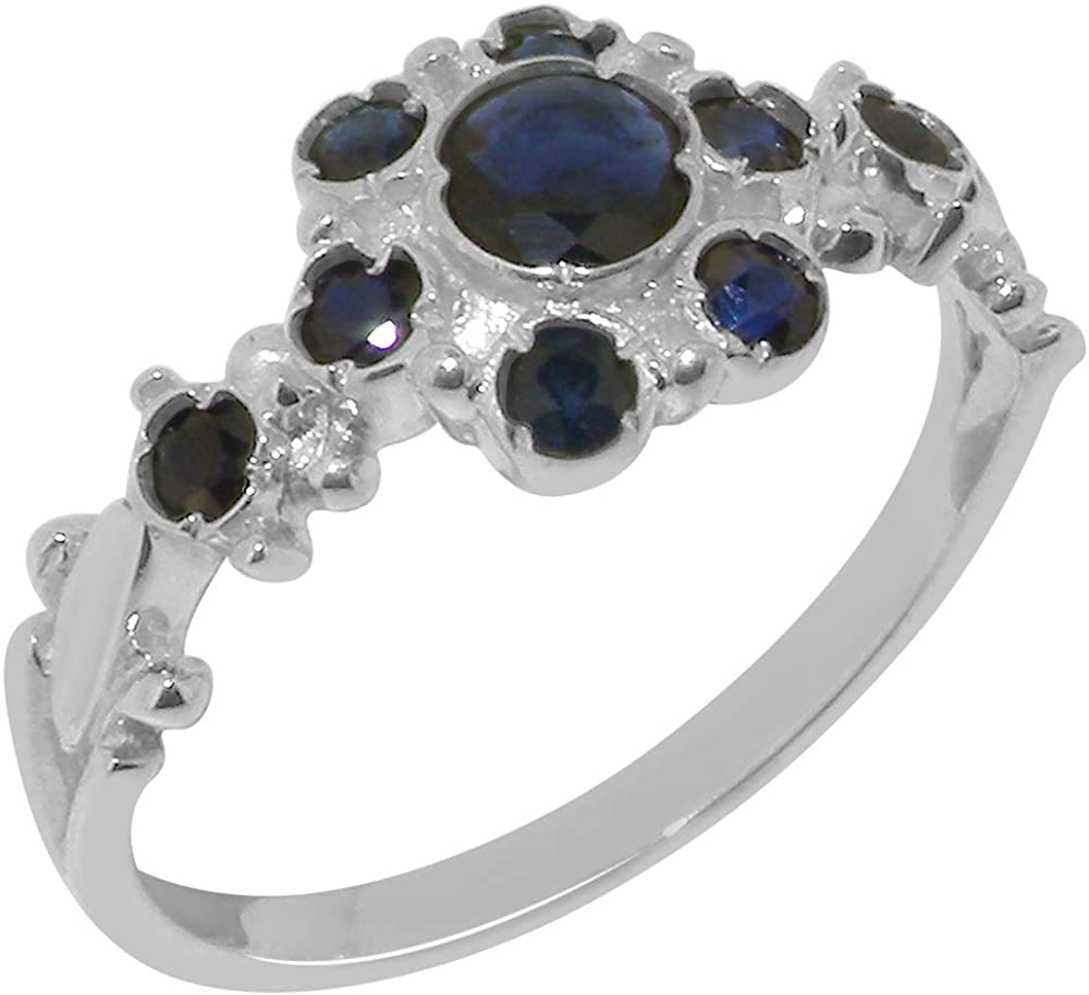 925 Sterling Silver Natural Sapphire Sizes Brand new Ring Womens Antique Max 55% OFF -