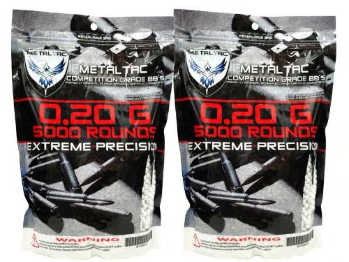 MetalTac Airsoft BBS .20g 10,000 Rounds 6mm for Airsoft Guns AEG Perfect Grade Percision Accurate Seamless BB Pellets