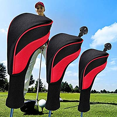 3PCS Golf Head Covers,Golf Club Head Covers Set Driver 1 3 5 Fairway Woods Headcovers Interchangeable No.Tag Long Neck Fits All Fairway And Driver,Black