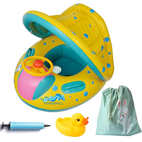Inflatable Baby Float-Pool Swimming Ring with Sun Canopy with Inflator Pump,Waterproof Carry Bag