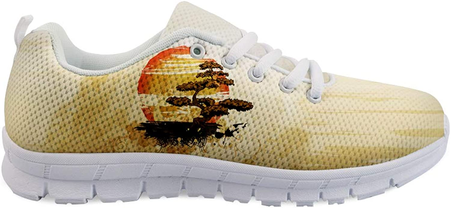 Owaheson Lace-up Sneaker Training shoes Mens Womens Bonsai Tree Sunrise Japanese