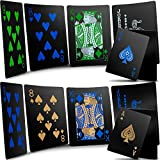 2 Decks Waterproof Poker Cards Black Plastic Playing Cards Classic Poker Magic Tricks Tools for Family Friends Gathering Game Party Supplies