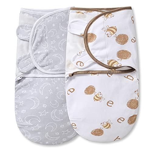 MioRico Mantas Envolventes para Recién Nacidos y Bebés 2 PCS Baby Swaddle Blanket Manta Bebé Transpirable Ajustables 100% Algodón Organico Saco de Dormir, Unisex 0-3 Meses