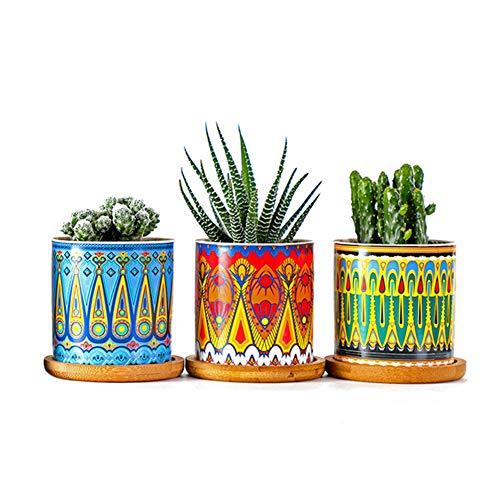 ISAKEN Macetas Pequeñas para Plantas de Cerámica de 7CM, con Plato de Bambú, Mini Maceteros Pequeños para Suculento Plantas Casa y Jardin Boda Decorativos
