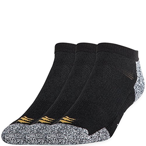 PowerSox Men's Big and Tall 3-Pack Powerlites No Show Socks with Moisture Control, Black, Shoe Size: 13-16