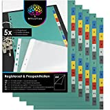 OfficeTree 5 x Separadores Archivador 4 Anillas Plastico Duro con Numérica 1-12 Separadores Plastico Multicolor - Con 12 Fundas Transparentes para Documentos A4