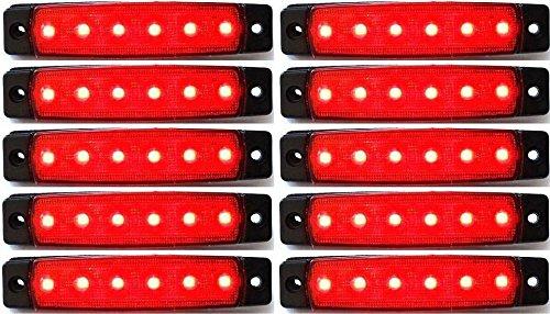 24/7Auto L0051 Lot De 10 Balises Lumineuses Led Latérales Arrière 24 V Led Pour Camion Remorque Caravane Rouge