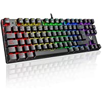 PICTEK Teclado Mecánico Switch Blue con Luz, Teclado Gaming Español LED Rainbow, 87 Teclas Anti-Ghosting para PC/Mac con Windows - Negro