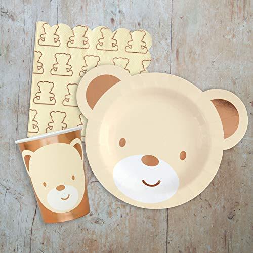 Hatton Gate Teddy Bear Theme Geschirr Pack für 16 Gäste, inklusive 16 Geformte Teller, 16 Tassen und 20 Teddy Bären Themen Servietten