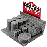 Feltrini adesivi X-PROTECTOR – Feltrini per mobili grigio 181 pezzi – Kit feltrini di tutte le dimensioni –Feltrini rotondi e non standard – Feltrini mobili di ogni tipo – Proteggi i tuoi pavimenti!