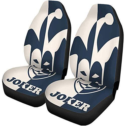 Night-Shop Autositzbezüge Hut Joker Symbol Narr Gesichtsmaske Poker Party Casino 2er-Set Autozubehör Protektoren Auto Dekor Universal Fit für Auto LKW SUV