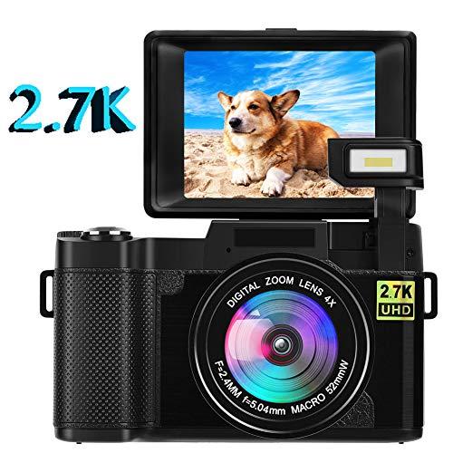 Camara de Fotos Cámara Digital Vlogging Cámara 24.0 MP 2.7K Ultra HD Cámara Compacta de 3.0 Pulgadas con Pantalla Plegable Linterna Retráctil