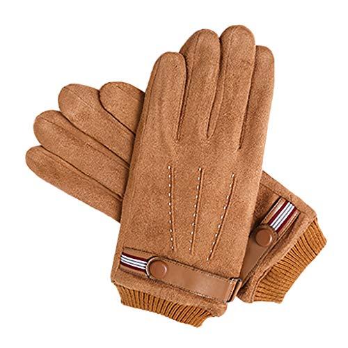 ZHANSANFM Touch Gloves Touchscreen Unisex Winter Warme Wildleder Handschuhe Dick Casual Outdoor Radfahren Sports Fingerhandschuhe Mode Winddicht Rutschfeste Winterhandschuhe Braun