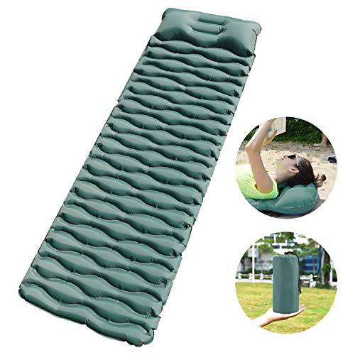 Isomatte Camping Selbstaufblasbare, Schlafmatte für Outdoor, Ultraleicht Feuchtigkeitsbeständig Wasserdicht und rutschfest, Handpresse Aufblasbare leichte Rucksackmatte für Wanderungen Reisen (Grün)