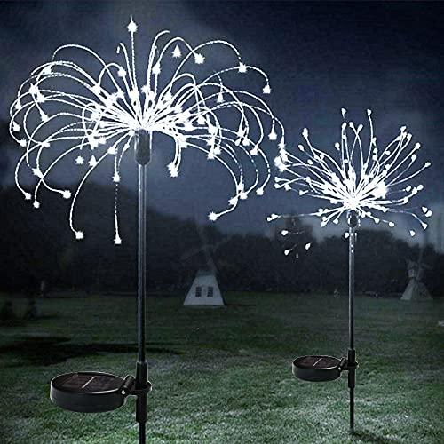 Paquete de 2 luces solares para exteriores, luces de fuegos artificiales, luces...