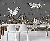 Papel pintado de baño de líneas de grúa blanca de ondas chinas Papel pintado de...