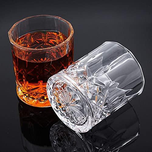 MoYouno - Set di 2 bicchieri da whisky in cristallo da whisky in elegante scatola (300 ml/10 oz), per borbone, XO, Scotch, vino (80 x 84 mm)