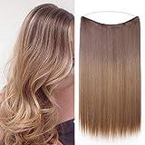 Silk-co Extension Fil Invisible Cheveux Synthétique Lisse Raide Extension a Fil Elastique Rajout Cheveux 20 Pouces, Brun Clair & Blond Foncé