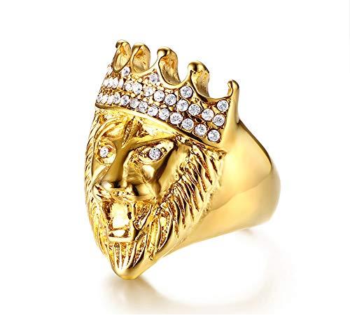 Anillo de acero inoxidable con diseño de cabeza de león y corona de diamantes de imitación, oro para hombre, estilo europeo y americano, joyería punk de Navidad, Halloween